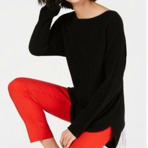 Pure Cashmere Long-Sleeve Shirttail Sweater, NWT
